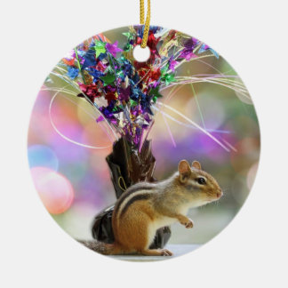 Party Time Chipmunk Picture Round Ceramic Decoration