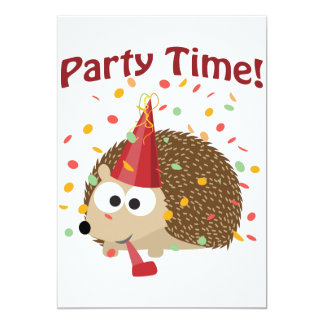 Party Time! Confetti Hedgehog Party Invitation