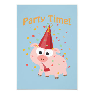 Party Time! Confetti Pig Party Invitation