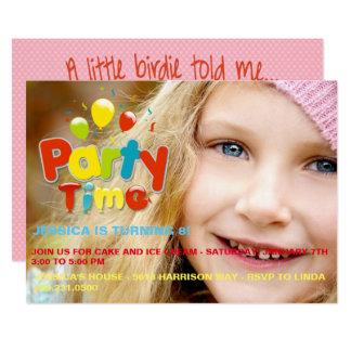 Party Time Custom Photo Birthday Invitation