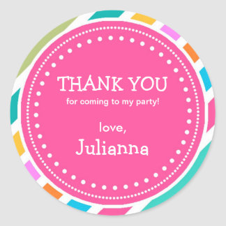 Party Time Girls Birthday Thank You Favor Sticker