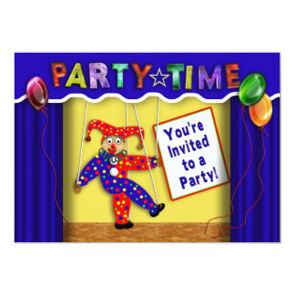 """PARTY TIME INVITATION - MULTI-PURPOSE - PUPPETS 5"""" X 7"""" INVITATION CARD"""