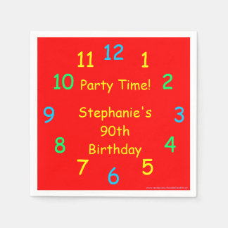 Party Time Paper Napkins, 90th Birthday, Red Disposable Napkin