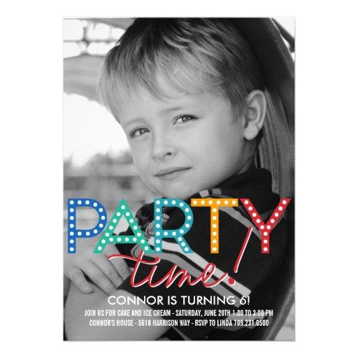 Party Time Photo Birthday Invitation Custom Invitation
