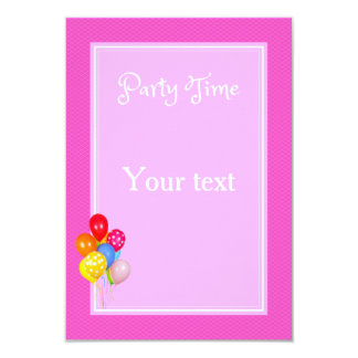 Party Time Pink 9 Cm X 13 Cm Invitation Card