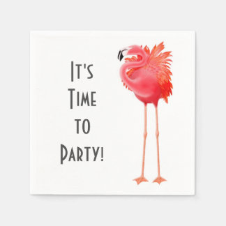 Party Time Pink Flamingo Paper Napkins Disposable Serviette
