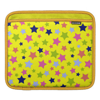 Party time star pattern on bright yellow iPad sleeve