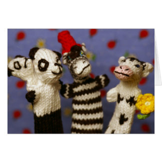 Party with Panda, Zebra and Cow Card