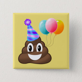 Partying Emoji Poop Birthday Button