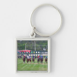 Parx Racing Silver-Colored Square Key Ring
