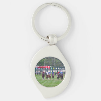 Parx Racing Silver-Colored Swirl Key Ring