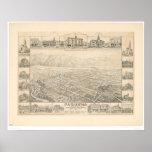 Pasadena, CA. Panoramic Map (1305A) Poster