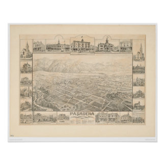 Pasadena, CA. Panoramic Map (1305A) Poster