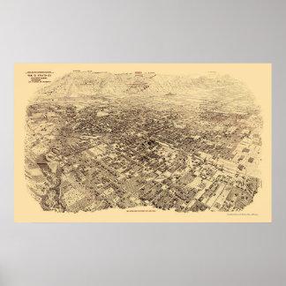 Pasadena, CA Panoramic Map - 1903 Poster