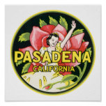 Pasadena California Vintage Luggage Label Poster