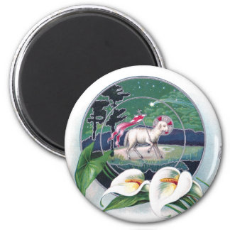 Paschal Lamb and White Lilies Vintage Easter 6 Cm Round Magnet