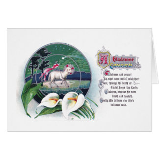 Paschal Lamb and White Lilies Vintage Easter Greeting Card