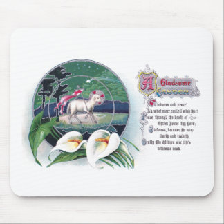 Paschal Lamb and White Lilies Vintage Easter Mouse Pad