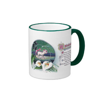 Paschal Lamb and White Lilies Vintage Easter Coffee Mugs
