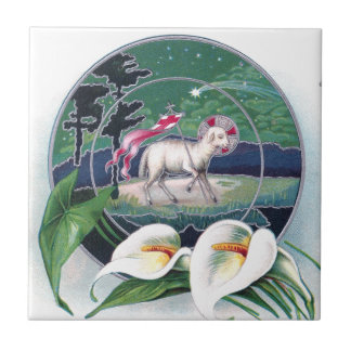 Paschal Lamb and White Lilies Vintage Easter Small Square Tile