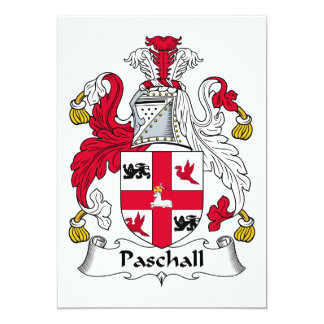 """Paschall Family Crest 5"""" X 7"""" Invitation Card"""