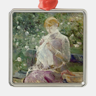 Pasie sewing in Bougival's Garden, 1881 Christmas Ornament