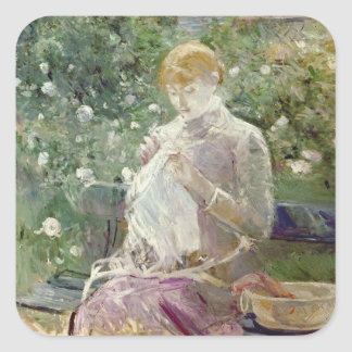Pasie sewing in Bougival's Garden, 1881 Square Sticker