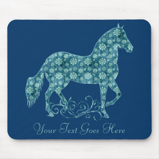 Paso Fino Horse Teal Grunge Floral Mouse Mat