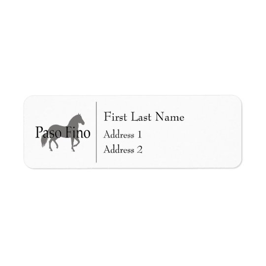 Paso Fino Silhouette Text 1 Return Address Label