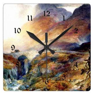 Pass at Glencoe, Scotland fine art painting Square Wall Clock