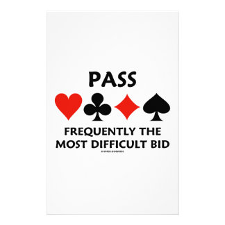 Pass Frequently The Most Difficult Bid Bridge Customized Stationery