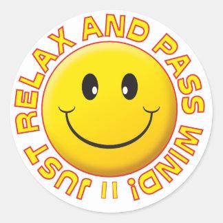 Pass Wind Smiley Round Stickers