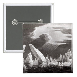 Passage through the Ice, engraved by D. Havell 15 Cm Square Badge