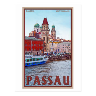 Passau - Donau Waterfront Postcard