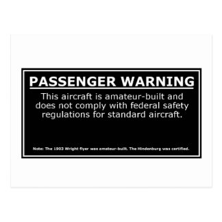 PASSENGER WARNING POSTCARD