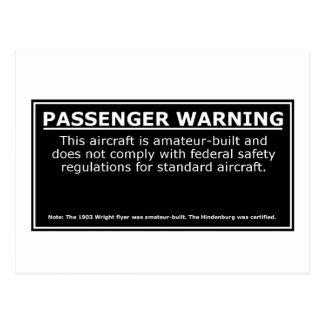 PASSENGER WARNING POSTCARD