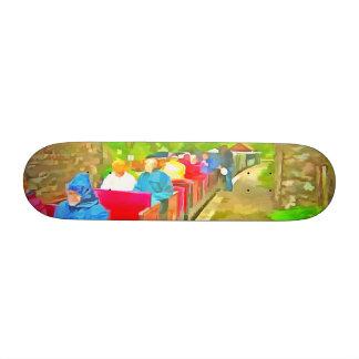 Passengers in a toy train 18.1 cm old school skateboard deck