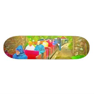 Passengers in a toy train 18.4 cm mini skateboard deck