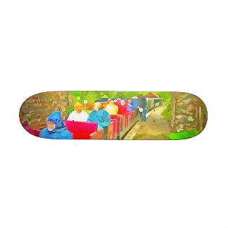 Passengers in a toy train 21.6 cm skateboard deck