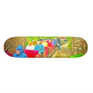 Passengers in a toy train skate board deck