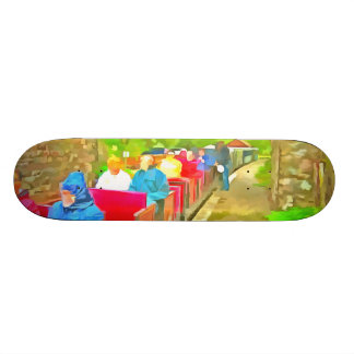 Passengers in a toy train skate board decks