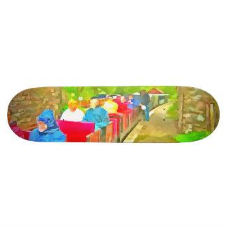 Passengers in a toy train skateboard decks