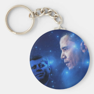 Passing of the Torch, John F. Kennedy Barack Obama Basic Round Button Key Ring