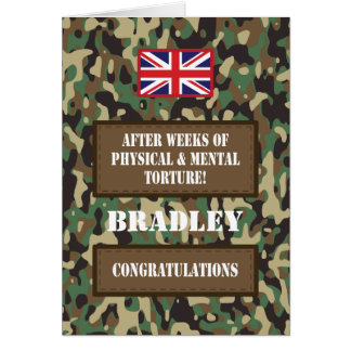 Passing Out Camouflage British Army Badge Congrats Greeting Card