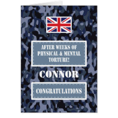 Passing Out Camouflage British Navy Badge Congrats Card