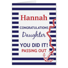 Passing Out Daughter British Navy Anchor Congrats Card