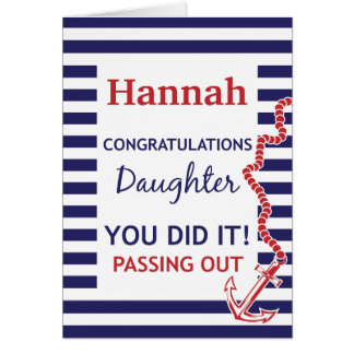Passing Out Daughter British Navy Anchor Congrats Greeting Card