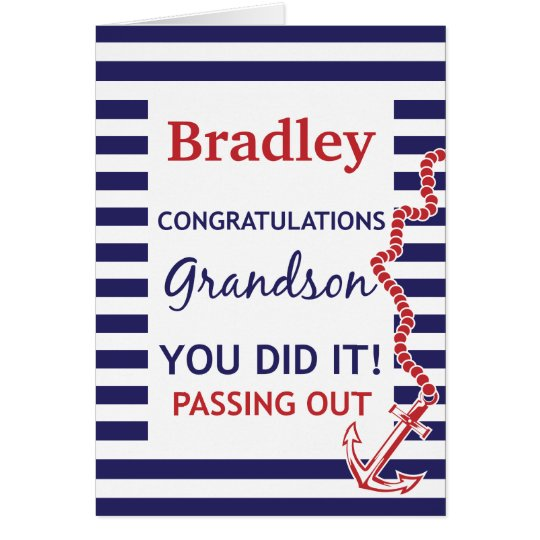 Passing Out Grandson British Navy Anchor Congrats Card