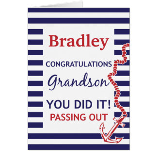 Passing Out Grandson British Navy Anchor Congrats Greeting Card