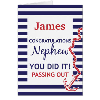 Passing Out Nephew British Navy Anchor Congrats Card